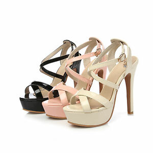 Ladies Shoes Synthetic Leather Platform High Heels Strappy Sandals AU Size S104