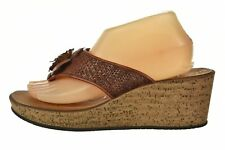 NEW Clarks Womens Shoes Size 9 M Burnt Orange Flower Flip Flop Wedges Raffia