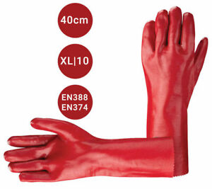 """Red PVC Rubber Heavy Duty Gauntlet 16"""" Long Arm Chemical Safety Gloves XL"""