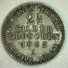1865 A German States PRUSSIA 2 1/2 Silber Groschen KM# 486 Silver YG World #P