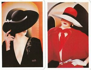 Vintage/Retro Swap/Playing card pair of Ladies in big Hats with white borders