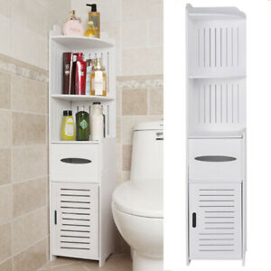 Bathroom Cabinet Tall Floor Standing Silm Storage Unit Cupboard Toilet Hallway