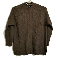 Icelandic Design Womens Sweater Size Large Brown Wool Silk Cable Knit Full Zip