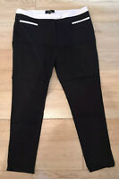DOROTHY PERKINS LUXE BLACK TROUSERS WITH CONTRAST DETAILS SIZE 16