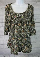 Liberty of London for Target Womens Blouse Sz Small Gray Peacock Feathers