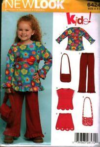 6424 UNCUT Vintage NEW LOOK SEWING Pattern Girls Top Pants Skirt Purse Bag OOP