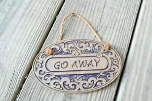 Ceramic GO AWAY Oval Sign Plaque Wall Hanging Glazed Clay Cubicle Decor Novelty