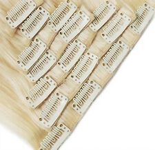 Clip In 100% Real Human Hair Extensions Full Head Single or Double Wefted 170G