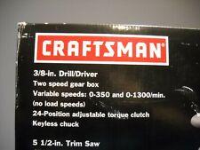 CRAFTSMAN 3 TOOL COMBO KIT 911591 DRILL/DRIVER WORK LIGHT CIRCULAR SAW CORDLESS