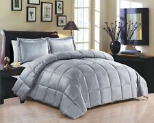Goose Down Alternative Supreme Flannel 3 PC Comforter Blanket Queen Set Grey