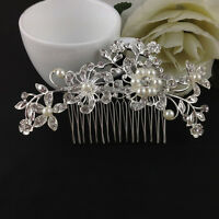 Silver Bridal Bridesmaid Wedding Hair Comb Clip in Flower Pearls Rhinestone New*