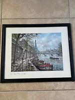 "Paris Eiffel Tower by Chardon Vintage 1980 print PRAM Framed 19x16"""