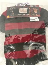 Freddy Krueger Pet Dog Costume Size Medium - Sweater, Hat And Claw Glove - NEW