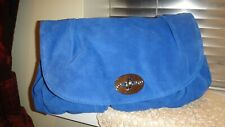 Ladies Next Blue Real Suede Leather Large Clutch