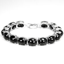 """87.75 CT. REAL AAA BLACK SPINEL OVAL CABOCHON STERLING 925 SILVER BRACELET 7.5"""""""
