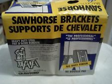 2 BNIB NOS SAWHORSE BRACKETS NO RUST FINISH HEAVY DUTY STEEL CRAWFORD #89 2 PAIR