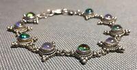 """VTG '70s """"Foil Opal"""" 7½"""" 925 Sterling Mount Bezel-Set Cabochon Link Bracelet"""