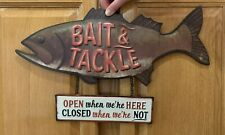 Bait Tackle Open Closed Sign Fishing Lure Rod Reel Boat House Garage Bar Pub