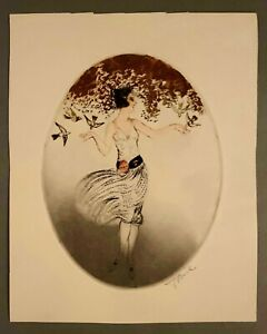 Signed French 1920s Art Deco Etching Icart Style Brunette w/ Birds unframed