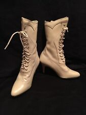 Ivory Leather Western Victorian Boot size 6.5 6 1/2 Wedding Lace Up Bridal Hook