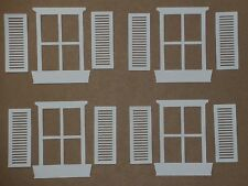 4 WHITE window pane 8 shutters die cuts