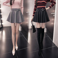 Mini Gonna Donna Vita Alta Autunno Simil Pelle PU Leather Mini Skirts 130045 P