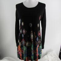 desigual black geometric floral sequins sweater dress size small viscose polyami