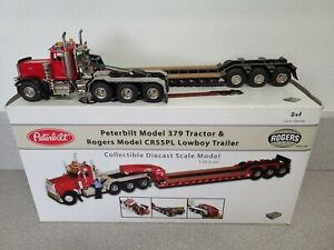 Peterbilt 379 w/ Rogers 3-Axle Lowboy - Red/Black - TWH DHS 1:50 #DHS0100-R
