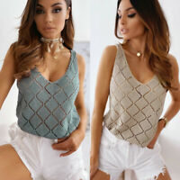 Womens Blouse Ladies CAMI Vest Knitted Sleeveless Tee Shirt Hollow Pullover Tops