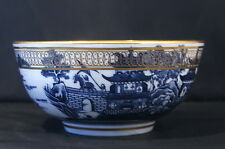 """ANTIQUE 1780 CAUGHLEY  BLUE & WHITE TWO """"TEMPLES PATTERN"""" OR """"PAGODA"""" SLOP BOWL"""