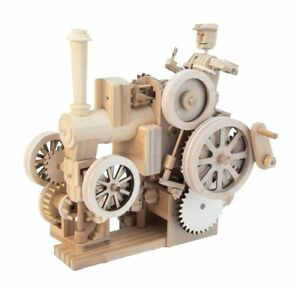 Traction Engine Working Wooden Model Kit 3D Automata Timberkits Natural Wood