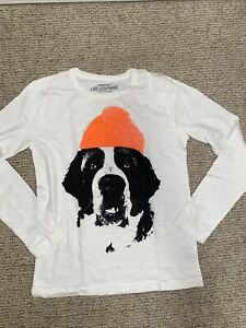 Crewcuts kid boy long sleeve graphic top tee Shirt White Dog Winter Hat Logo 8