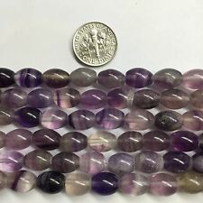 Fluorite 8x10mm Oval Barrel Natural Gemstone Beads  15.5