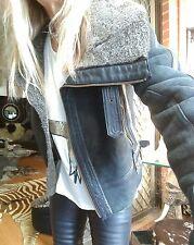 Topshop Real Shearling Leather Fur Sheepskin Aviator Jacket Coat Sz 8/4/36