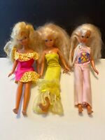 3 Vintage barbie Doll Skipper 1980's With Outfits