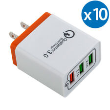 10x 30W 3-Port USB Wall Charger Double Quick 3.0 Ports For iPhone X Samsung