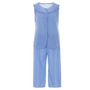Damen Pyjama Capri T-Shirt Ärmellos 3/4 Hose Schlafanzug Baumwolle Größe M-XXL