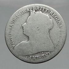 1899 UK Great Britain United Kingdom QUEEN VICTORIA Shilling Silver Coin i62906