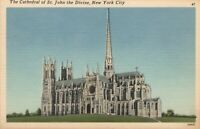 1955 The Cathedral of St. John the Divine, New York City POSTCARD to Springfield