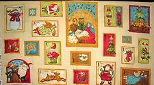 Christmas Santa Sheep Nativity Tree Cotton Fabric Benartex Nancys Holiday PANEL