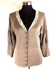 Anthropologie Knitted Knotted Cardigan Sweater L Brown Ivory Lace Rose Buttons