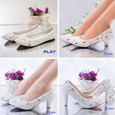 Pearls bridal crystals wedding high heel low heel flat bridesmaid prom shoes