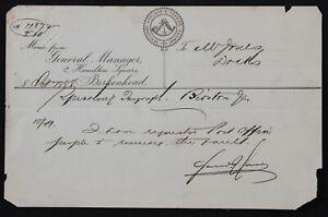 Seacombe Hoylake & Deeside Railway 1888 headed paper General Manager memo
