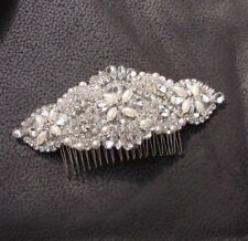 Silver Diamante Ivory Pearl Large Bridal Hair Comb Rhinestone Beaded Bridal 6176