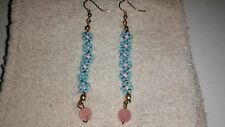 Handmade Handcrafted Floral Rose Quartz Birthday Gift Earrings