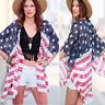 UK Women American Flag Blouse Ladies Loose Chiffon Kimono Cardigan Tops Cover Up