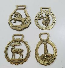 Vintage Brass Horse Brasses Plaques x4 Decorative Collectables Lot 2