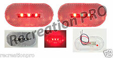 """2 NEW 4""""x2"""" OBLONG CLEAR/RED LED SURFACE MOUNT CLEARANCE MARKER LIGHTS 14303CR"""