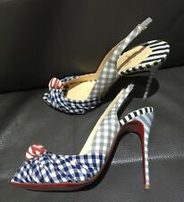 CHRISTIAN LOUBOUTIN GREISSIMO GINGHAM HIGH HEEL SANDALS / SHOES, NEW, SIZE 41