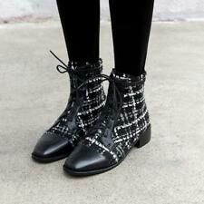 2020 New Stylish Women's Square Toes Lace Up Casual Work Ankle Boots Shoes Zhu
